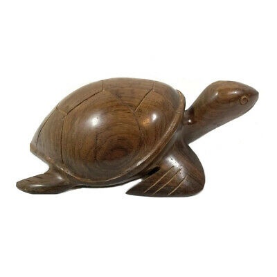 Vintage Carved Wood Turtle Sculpture Ironwood Weathered Rustic Mid Century