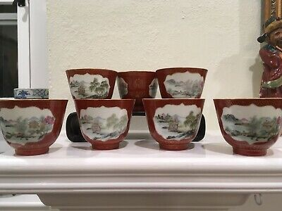 Antique Chinese Porcelain Tea Cups With Landscape Cartouches and Gilt trim
