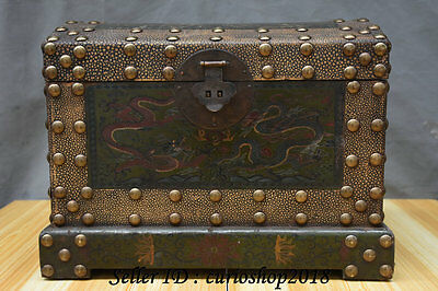 "14"" Old China Wood Lacquerware Painting Dynasty Palace Dragon Storage Box Case"