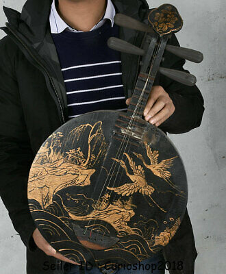"25.2"" Old China Wood Lacquerware Dynasty Crane Birds Qin Pipa musical instrument"