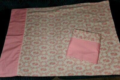 Vtg 70s Cannon Featherlite Pillowcases Set of 2 Standard Cotton Blend Pink White