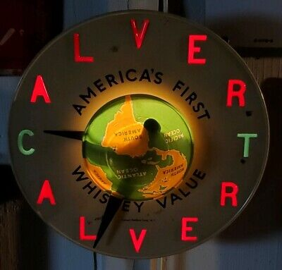 Vintage Collectible Advertising Calvert Light Up Whiskey Clock Round The World
