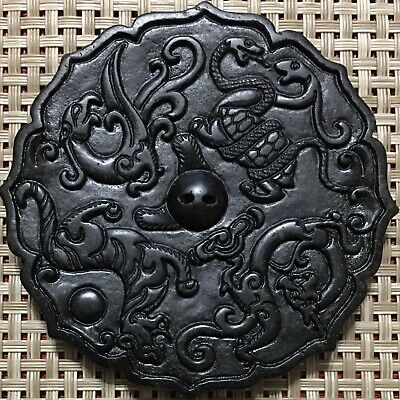 Old Natural Chinese Jade, Hongshan Culture,Zodiac Mirror Pendant, China.