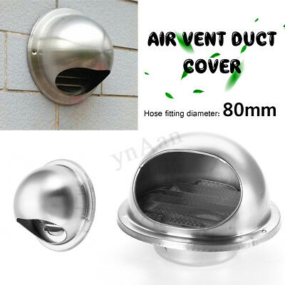 Stainless Steel Bull Nose Vent Outlet Cover Insect-proof Mesh Wall Mounted