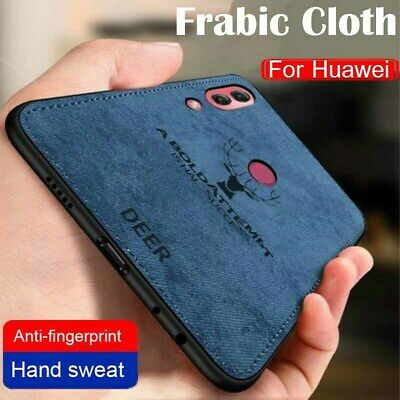 For Huawei P Smart Z 2019 Hybrid Soft TPU Fabric Cloth Leather Back Case Cover