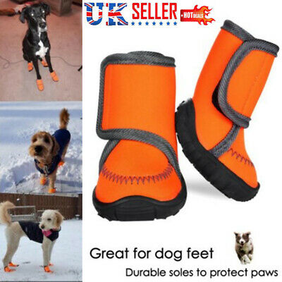 4Pc/Set Pet Dog Reflective Shoes Anti-slip Waterproof Double Strap Snow Boots UK