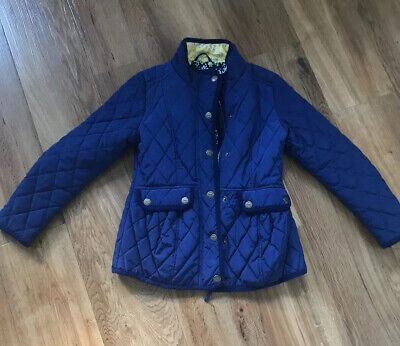 Girls Next age 9-10 vgc  Blue Quilted Coat Jacket Floral Lining