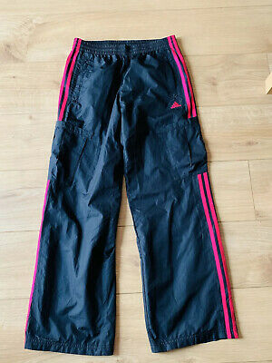 ADIDAS black pink TRACKSUIT BOTTOMS TROUSERS SPORTS size 13-14 Yrs Ladies Size 8