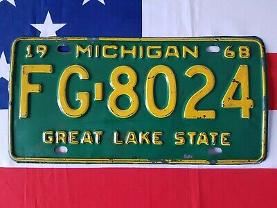 Plaque d'immatriculation Michigan 1968  FG8024  US USA license plate