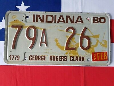 Plaque d'immatriculation Indiana 79A 26 US USA license plate