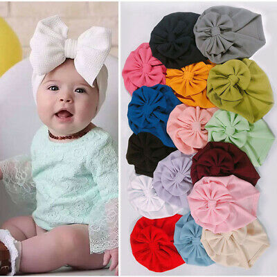 Newborn Baby Boy Girl Turban Bow Head Wrap Beanie Hat Cap Headband Hair Band New