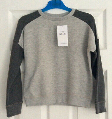 Marks & Spencer Grey Block Crop Short sweat Top Size 9 10 years NWT sweater