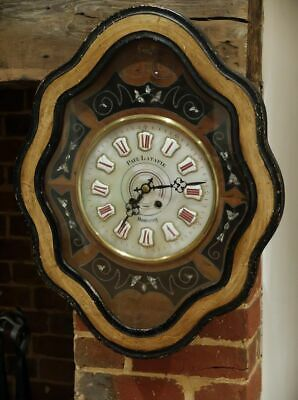 Antique 19th century French cased wall clock Paul Latapie 61cm, fully working!