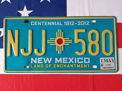 Plaque d'immatriculation New Mexico NJJ 580 US USA license plate