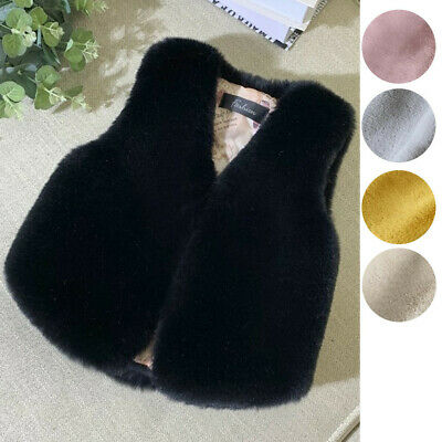 Toddler Kids Girls Faux Fur Vest Gilet Winter Waistcoat Coat Bodywarmer Jacket