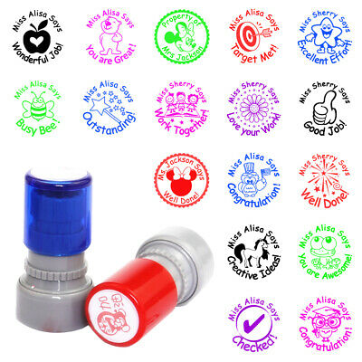 Personalised Teacher Stamps School Student Homework Comment Praise Stamper Gift