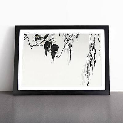 Magpies Flowers Floral Asian Bird Watanabe Seitei Wall Art Framed Picture Print