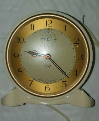 Vintage Bakelite Smiths Sectric Ivory cream Alarm Clock  (UNTESTED)original box