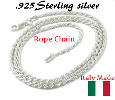 1.2MM Solid 925 Sterling Silver Italian DIAMOND CUT ROPE CHAIN Necklace Italy