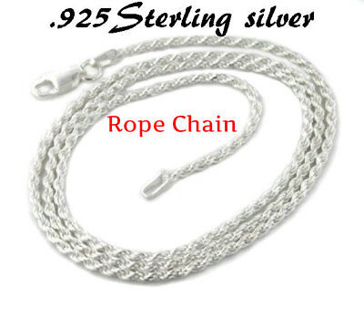 REAL 925 Sterling Silver Rope Chain Necklace SOLID SILVER .925 Jewelry Italy 18""