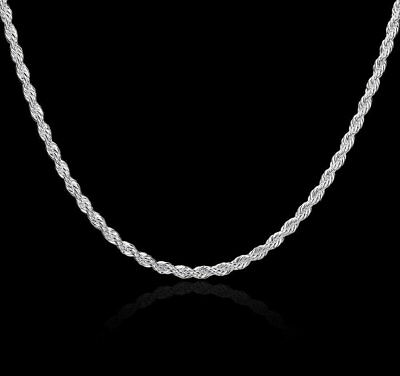 """18"""" Sterling Silver Necklace Shiny Diamond Cut Italian Rope Chain Pure 925 Italy"""
