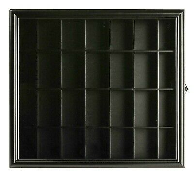 Gallery Solutions Shot Glass Display Wood Case - Black
