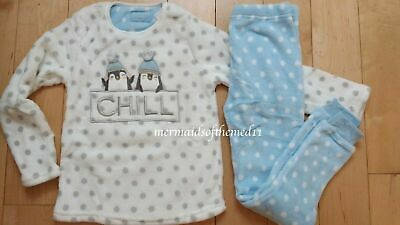 Girls Soft Fleece Winter Penguin Pyjamas Long Sleeve Pyjama Set PJs Age 8-9 New