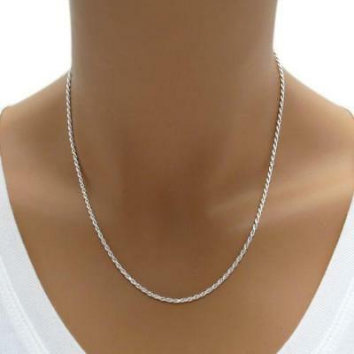 1.5MM Solid 925 Sterling Silver Italian DIAMOND CUT ROPE CHAIN Necklace Italy
