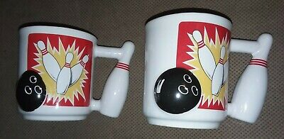 Vintage 1960's Emson Let's Go Bowling Coffee Mugs 3D Ball Pins White Ceramic