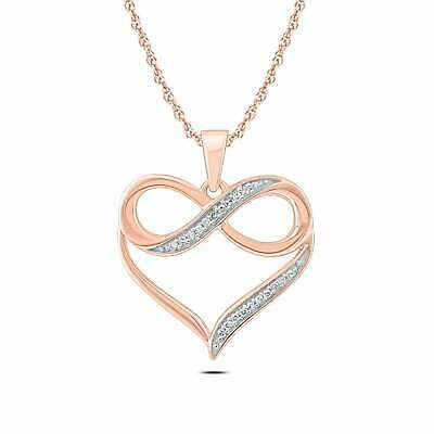 Womens Solid 925 Sterling Silver Plain Infinity Rose Plated Pendant Necklace 16/""