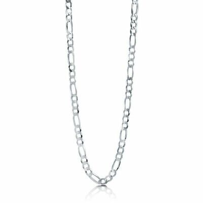 Italy 925 Sterling Silver Diamond Cut Figaro Chain Necklace Real Mens Womens 2mm