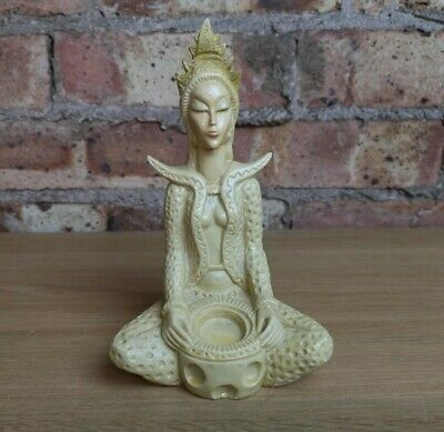 Vintage Japanese Chinese Oriental Resin Figure Figurine Woman Meditating Pray