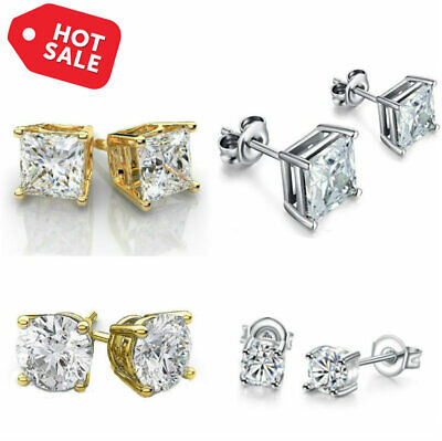 4 Pack Stud Earrings Made with Cubic Zirconia CZ Crystal - 18K White Gold Studs