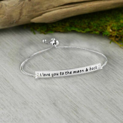 "I Love You To The Moon and Back Heart Bracelet Made with Crystals 8"" Bracelet"