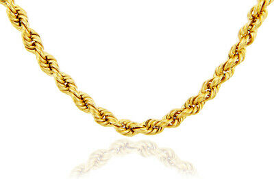 Chain Gold 10k Rope Yellow Necklace Diamond Cut Pendant 16 30 Solid 4mm Real