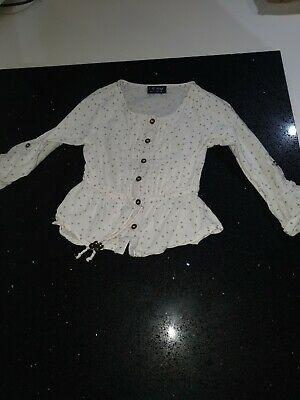 Next Girls 3years 100%cotton White And Grey Stars Smock Style Top