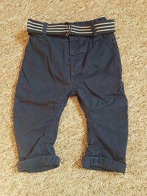 Gorgeous M&S Blue Navy Trousers With Belt Size 6-9 Months Marks and Spencer