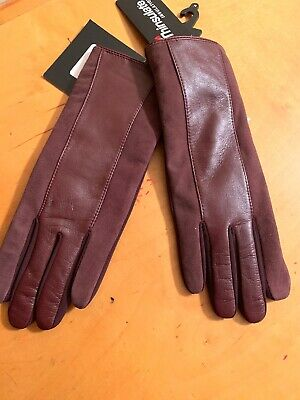 $89 Womens Echo Leather   Brown & Maroon Gloves Medium  Touch Thinsulate #11