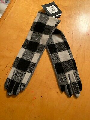 $59 Women's Echo Plaid Wool Cashmere Blend Long  Gloves Size Medium #19