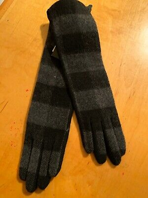 $59 Women's Echo Plaid Wool Cashmere Blend Long  Gloves Size Medium #18