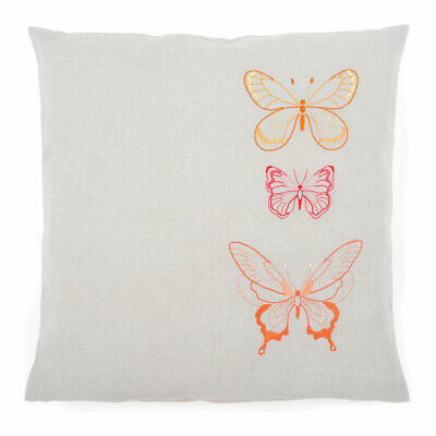Vervaco Embroidery Kit Cushion | Orange Butterflies on Grey | 40 x 40cm