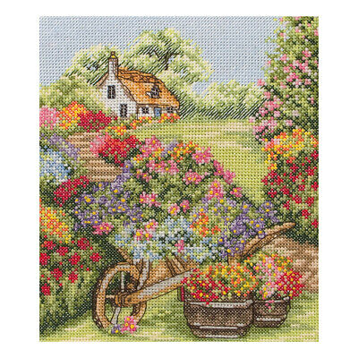 ANCHOR | Counted Cross Stitch Kit: Floral Wheelbarrow - Wall Hanging | PCE749