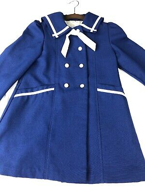 Vintage Winnie the Pooh Girls 6 Blue Sailor Coat Nautical Double-breasted