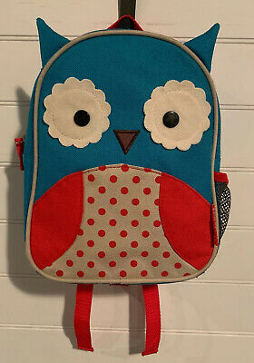 SKIP HOP Zoo Small Unisex Toddler Red & Blue Owl Backpack