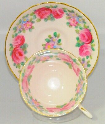 Tuscan Tea Cup & Saucer Rose Pansy Floral Pale Pink (Teacup)