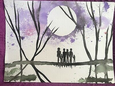 Six Lives Lost. Sienna Mayfair Painting A4 Art Original FREE POST