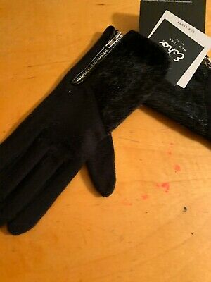 $48 Womens Echo Black Wool  Gloves Size Small Zipper #64