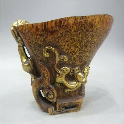 """5.12"""" Exquisite Ox horn gilt Hand-carved Chilong Dragon Ox horn cup wine cup"""