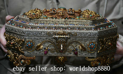 """11.6"""" Exquisite Old Tibet Silver Gold Turquoise Buddha Beast Flower Jewelry Box"""