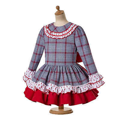 Girl Princess Check Spanish Dress Pleated Christmas Party Pageant  3-12 Years